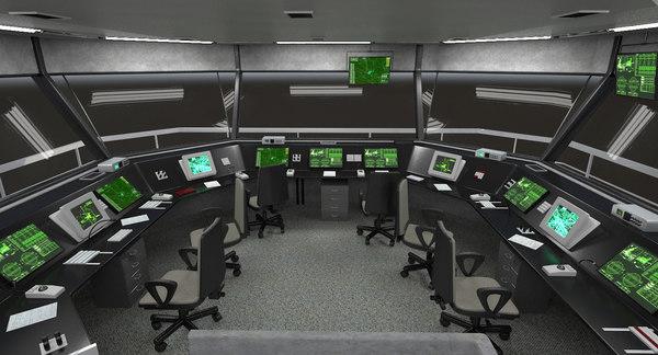 air traffic tower interior 3D model