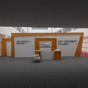 3D interior stage reception hall model