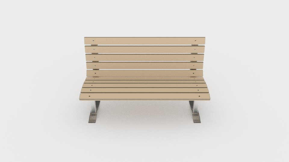 Wood and metal park bench