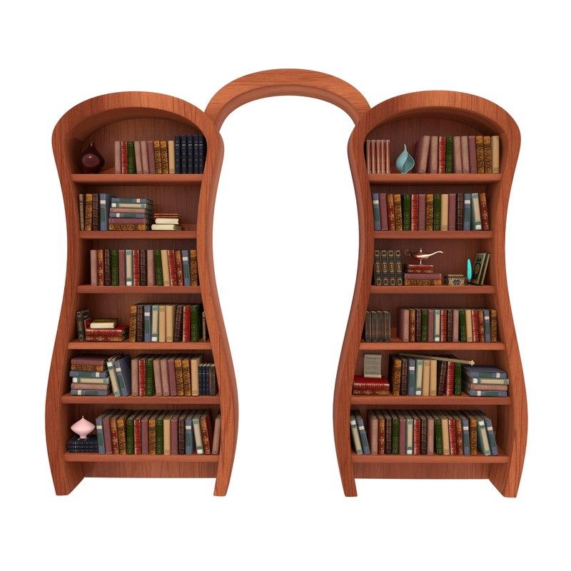 ottoman bookshelf books 3D
