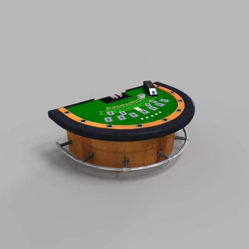 3D black jack table casino
