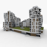 3D residential apartment building