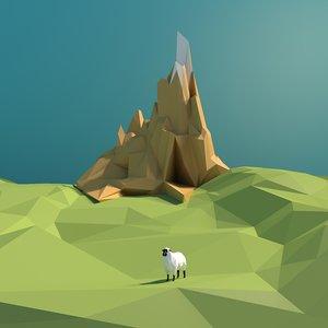 polylandscapehillgrasssheepgoatanimal 3D