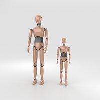3D crash dummy test model