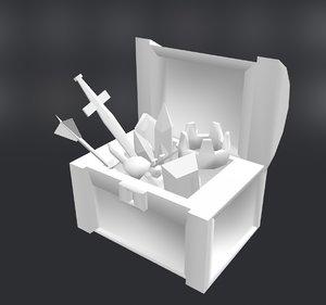 treasureboxjewelry crown sword 3D model