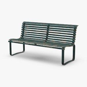 city-bench-02---aged 3D model