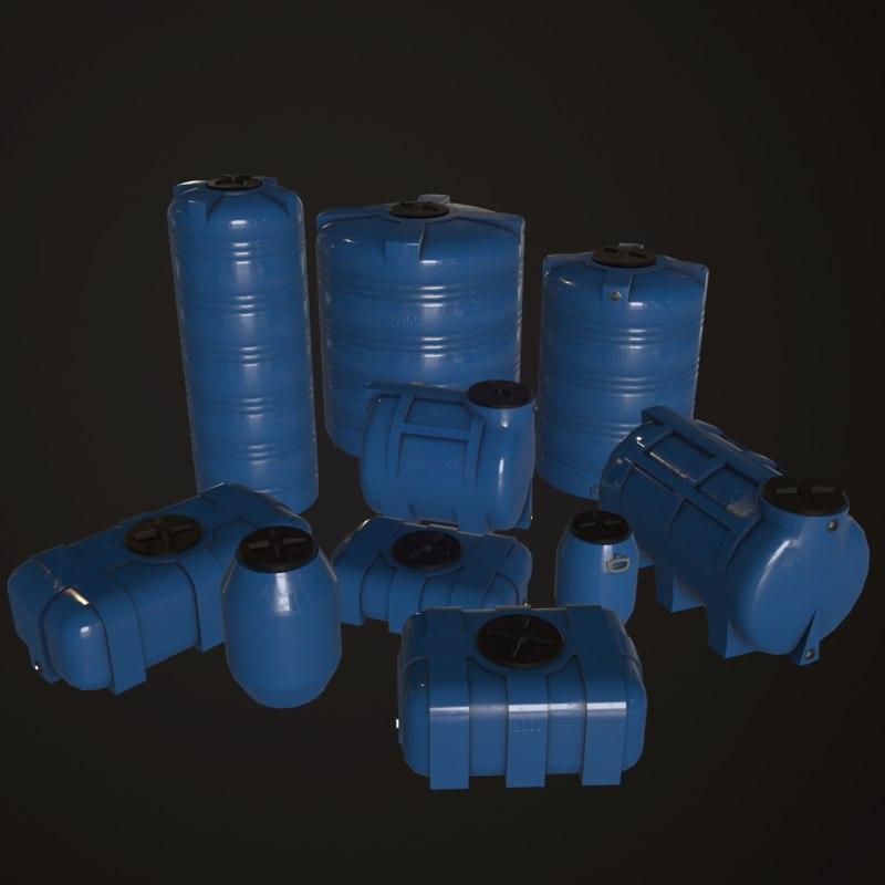 3D water barrels pack model