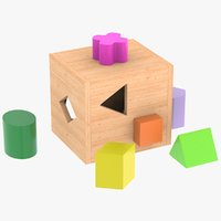 wooden childrens toy box 3D model