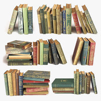 old books on a shelf set 3