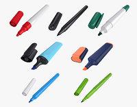 markers felt tip pens 3D model