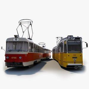3D 1960s tram tatra ganz model