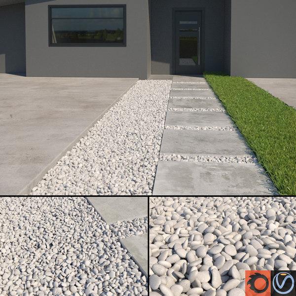 3d white pebbles model