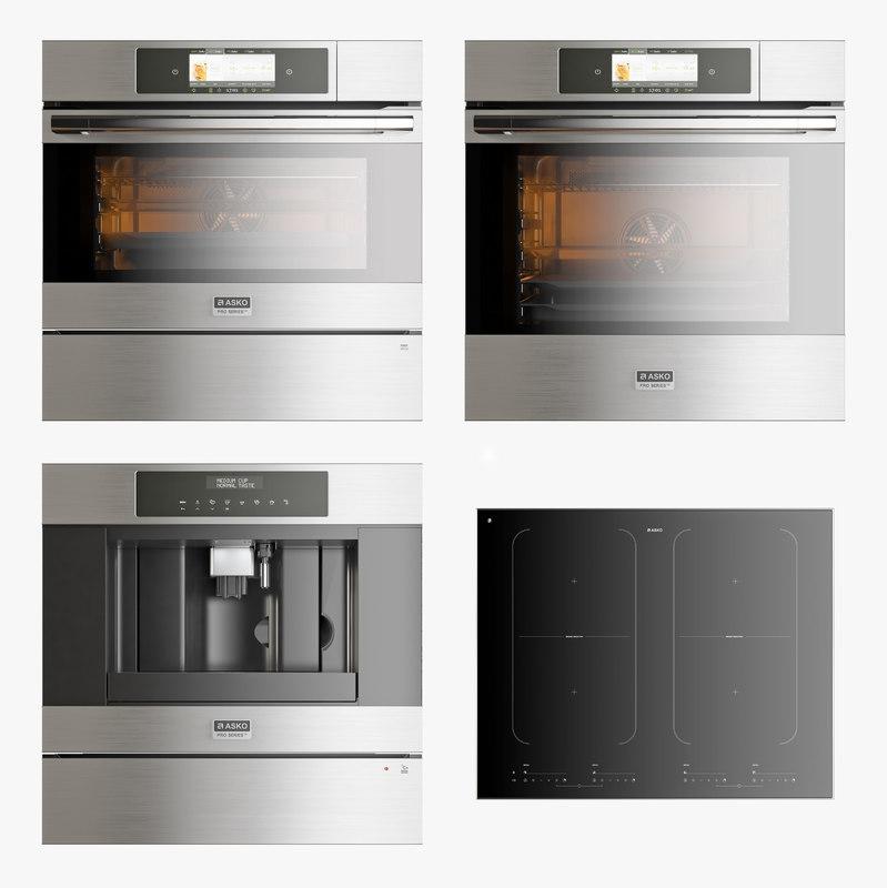 set kitchen appliances asko 3D model