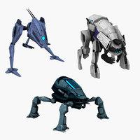 3D 3 robots animations