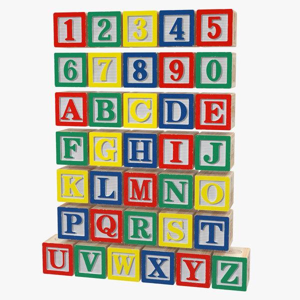 3D wooden alphabet blocks set model