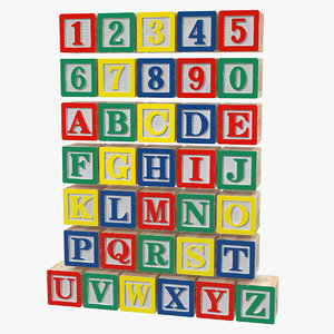 3D wooden alphabet blocks set model