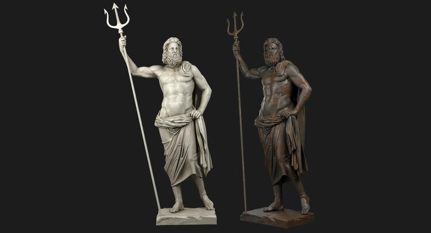 3D poseidon sculpture bronze model