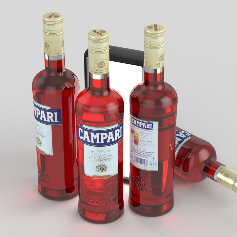 3D alcohol bottle campari 700ml model