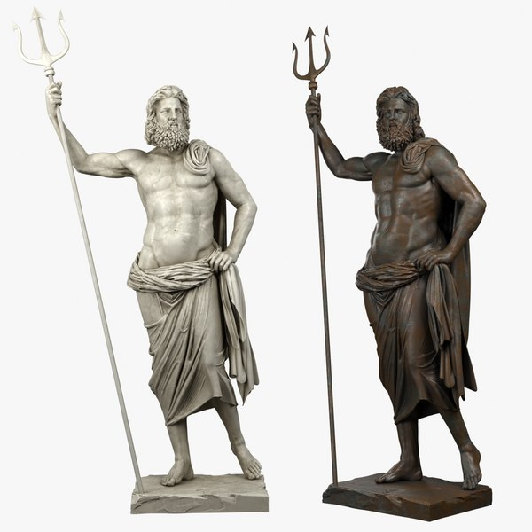 3D poseidon sculpture bronze model