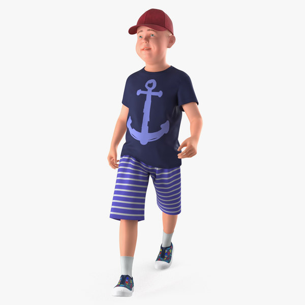 walking teenage boy 3D