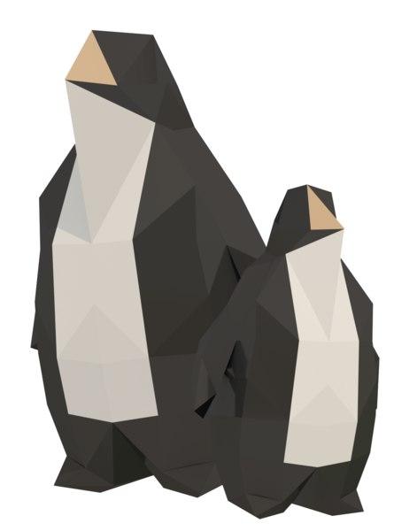 low polypenguinanimalantarctic 3D model
