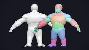 stylized dwarf base mesh 3D model