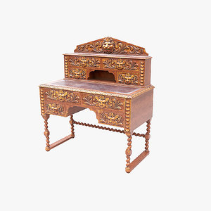 3D model writing desk carved