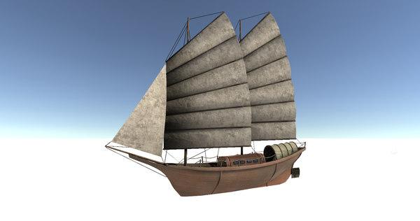 old sail transport ship 3D model