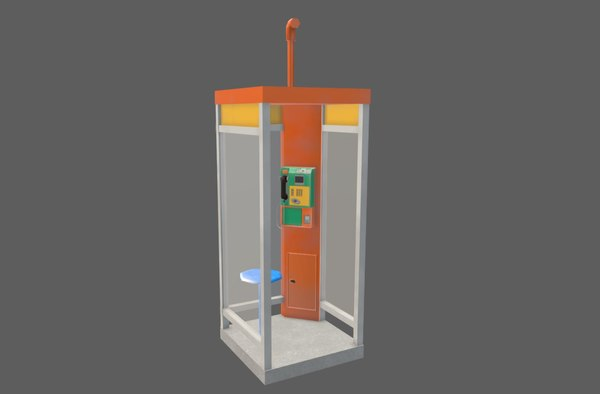 public telephone booth 3D model