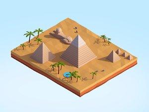 3D cartoon egipt piramids giza model