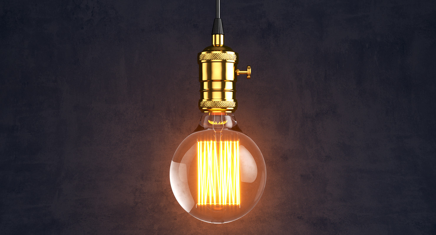 vintage retro light bulb 3D model