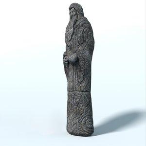fantasy statue magician 3D model