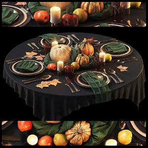 3D halloween table setting 3
