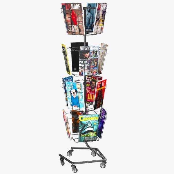 3D magazine stand modeled model