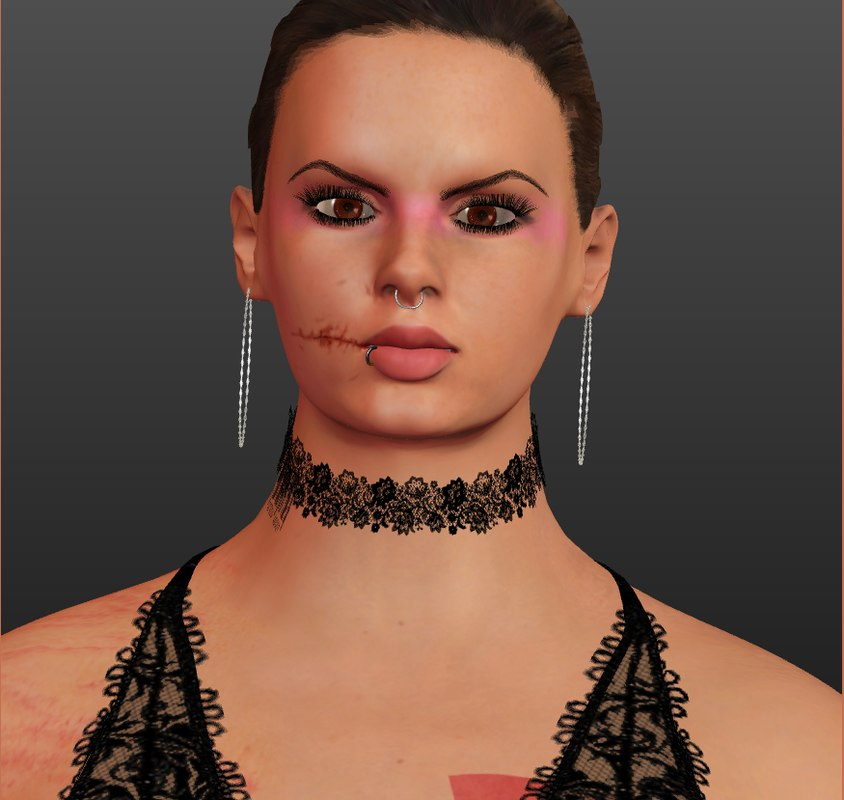 rigged lady 3D