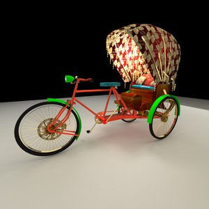 3D chinese rickshaw