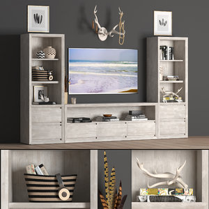 3D callum wide media wall model