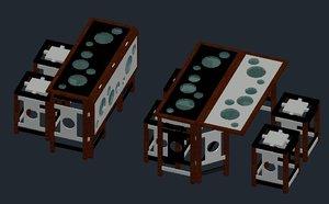 modern chair table restaurant 3D