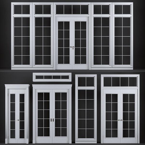 wooden doors windows floor 3D