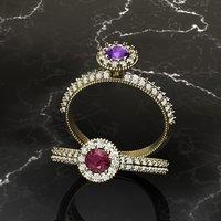milgrain diamond engagement 3D