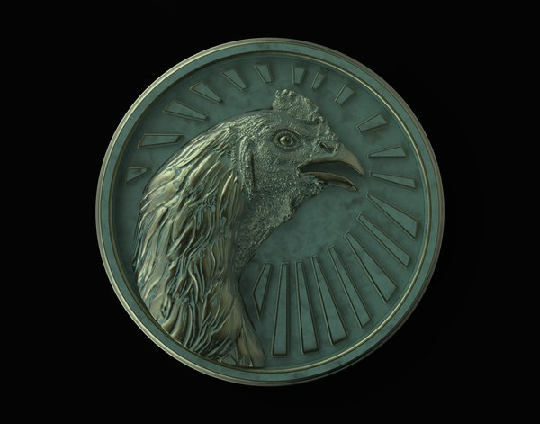 medallion fighting rooster coq 3D model