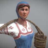 3D peasant villager woman character