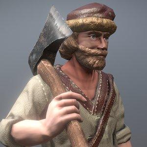 peasant villager man 3D model