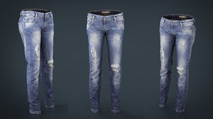 3D ripped jeans