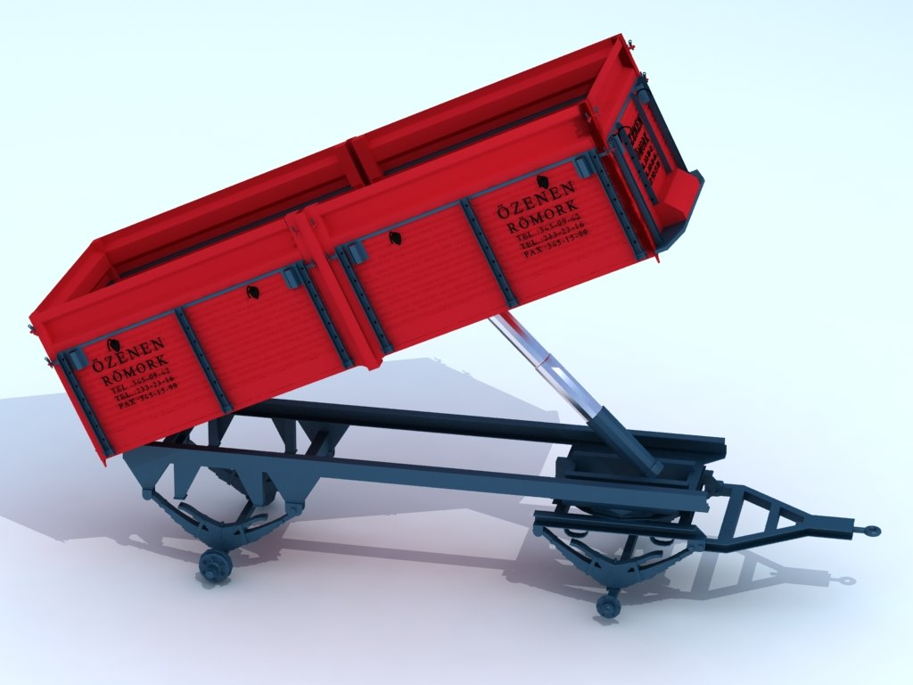 3D agricultural wagon vehicle model