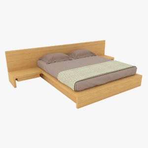 wooden double bed 3D model