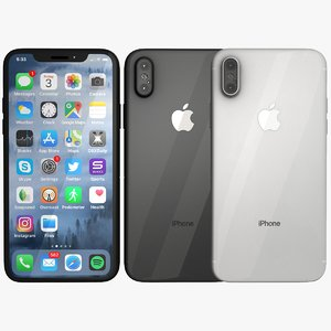 3D model silver space iphone x