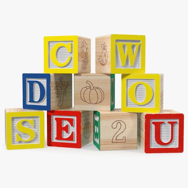 3D wooden letter blocks model