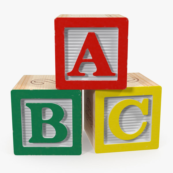 3D abc wooden blocks