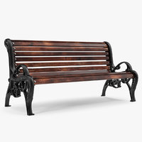 antique park bench 3D model